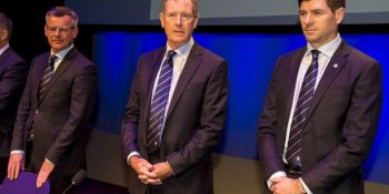 Rangers chairman Dave King and Steven Gerrard at the club's 2018 AGM