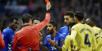 Rangers' Daniel Candeias is shown a red card against Villareal