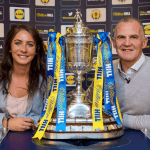 British Olympic Curler Eve Muirhead (left) and former Kilmarnock player, Roy Montgomery, are pictured at the draw for the Second Round of the William Hill Scottish Cup