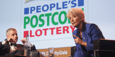 Emma Thompson postcode lottery