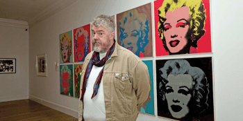 Phill Jupitus with Warhol prints