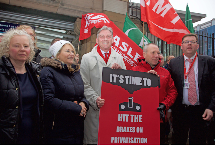 Richard Leonard at rail rally