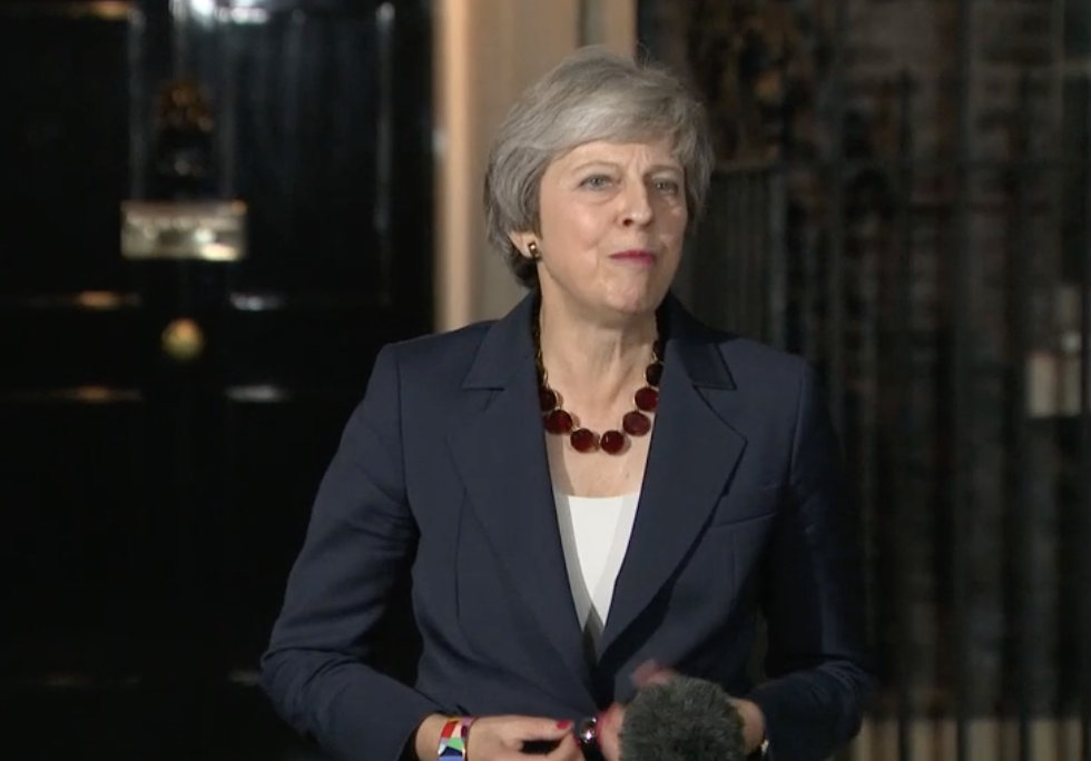 Theresa May Downing St after marathon Brexit meeting Nov 14
