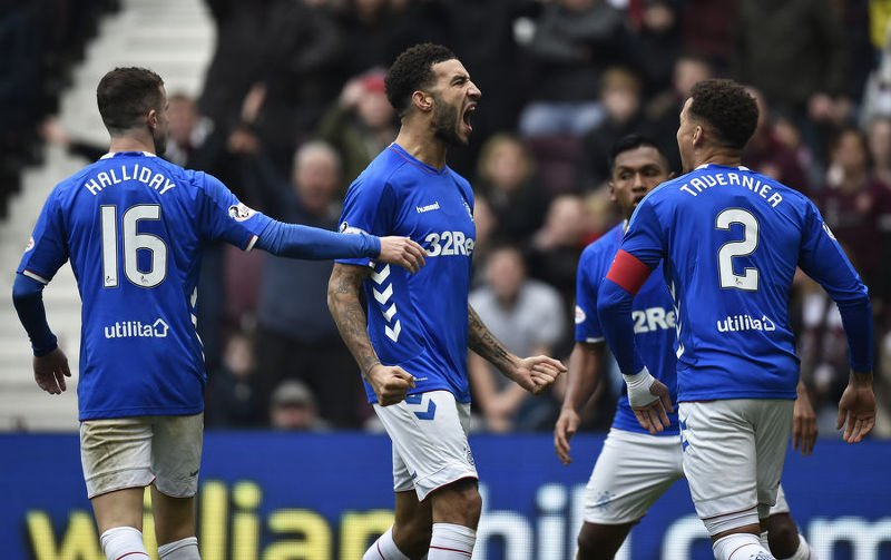 Connor Goldson celebrates his equaliser against Hearts at Tynecastle