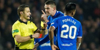 Alfredo Morelos is sent off against Aberdeen at Ibrox