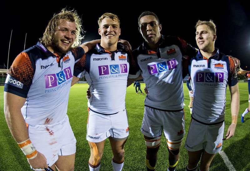 Edinburgh's Pierre Schoeman, Duhan van der Merwe, Bill Mata and Jaco van der Walt celebrate the win over Glasgow