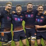 Edinburgh's Jamie Ritchie, Blair Kinghorn, Grant Gilchrist and Simon Berghan celebrate the win over Montpellier.