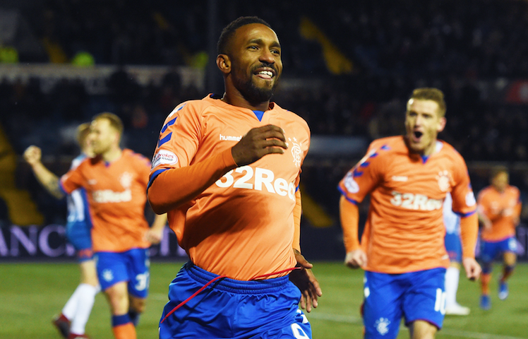 Jermain Defoe celebrates Rangers debut goal