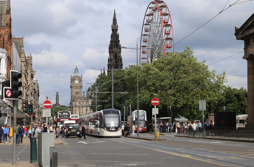 Princes Street, trams and big wheel