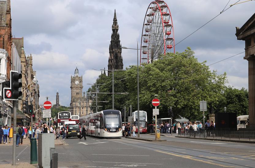 Princes Street, trams and big wheel