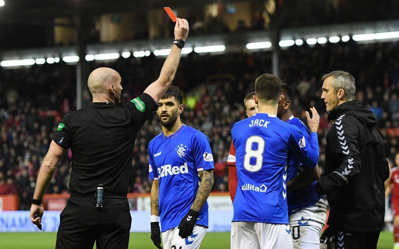 Alfredo Morelos sees red against Aberdeen for the third time this season