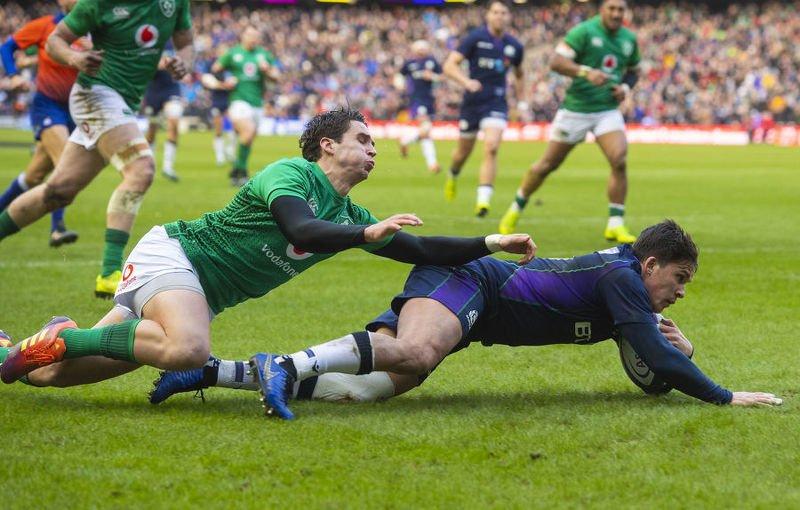 Sam Johnson scores for Scotland against Ireland