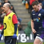 Stuart Hogg leaves the field after being injured against Ireland