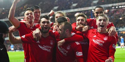 Aberdeen celebrate at Ibrox after beating Rangers in their Scottish Cup quarter-final replay