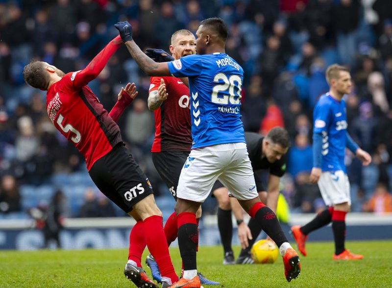 Alfredo Morelos clashes with Kirk Broadfoot