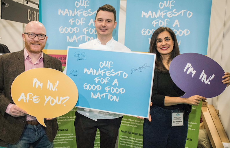 Gary Maclean, Derek Johnstone and Sumayya Usmani at ScotHot