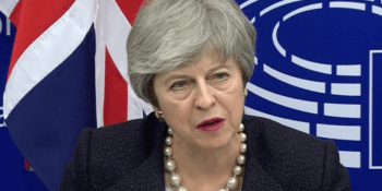 Theresa May speaking in Strasbourg 11 March