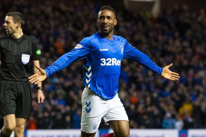 Rangers' Jermaine Defoe opened the scoring against Hearts