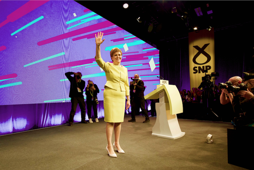 Nicola Sturgeon acknowledging audience after conference speech