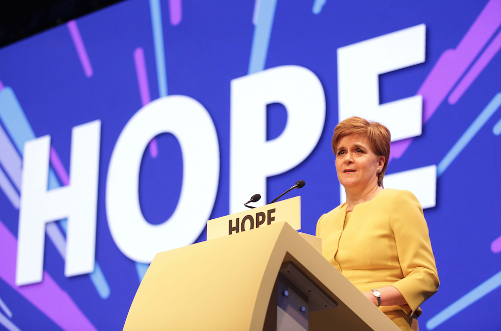 Nicola Sturgeon at SNP spring conference, EICC