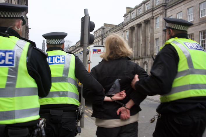Protestor led away at Edinburgh demo - Extinction Rebellion