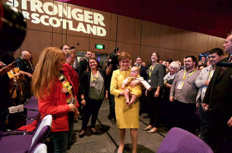 Nicola Sturgeon and baby at SNP conference