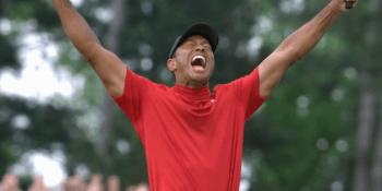 Tiger Wood celebrates