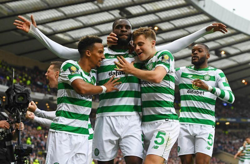 Odsonne Edouard celebrates his second goal against Hearts in the Scottish Cup final