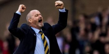 Steve Clarke celebrates late winner against Cyprus