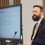 Tomas Carruthers of Project Heather at Scottish parliament