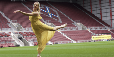 Ballet dancer Eve Musto at Tynecastle (pic: Terry Murden)