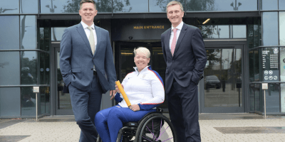 Harper Macleod Chief Executive Martin Darroch, Paralympic gold medallist Jo Butterfield and Interim UK Athletics CEO Nigel Holl