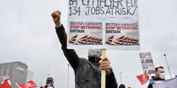 BA protest at Edinburgh airport
