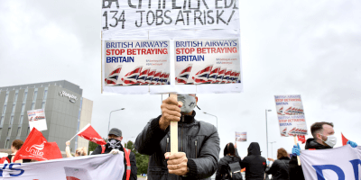 BA protest at Edinburgh airport-