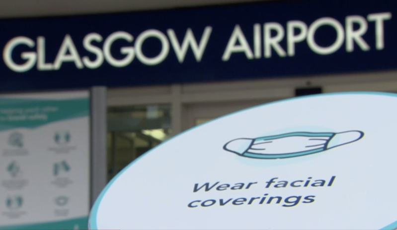 Glasgow Airporrt and face coverings