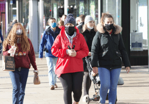 Shoppers in masks