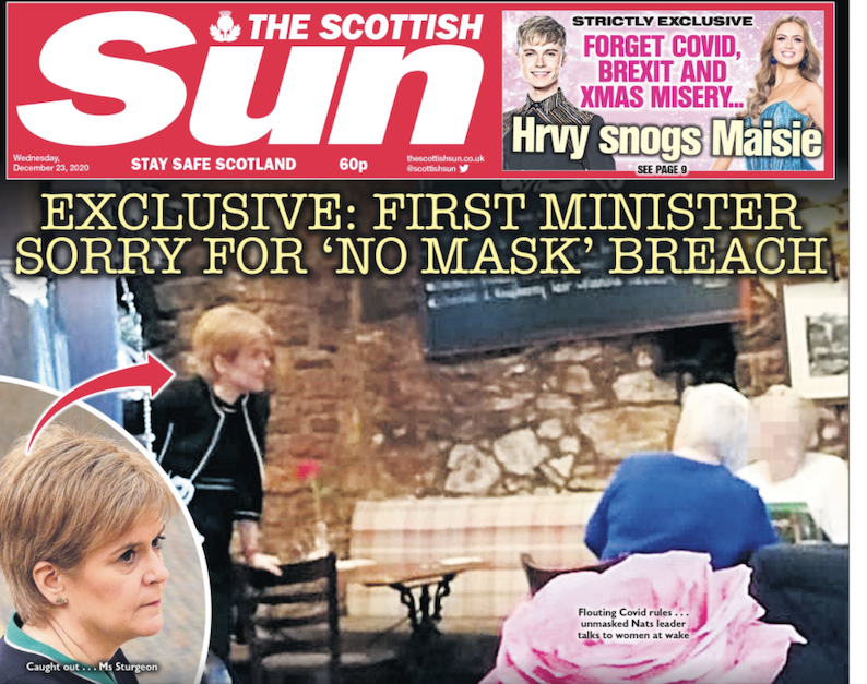 Sturgeon caught breaking Covid rules in pub – Daily Business
