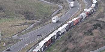 lorries queuing