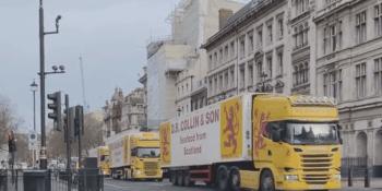 Lorries in London protest.