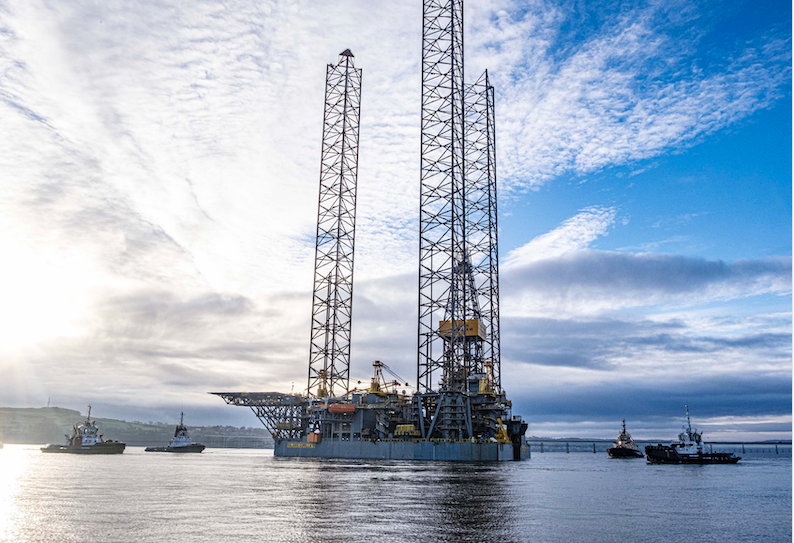 Valaris Gorilla VI jack-up rig as it departed the Port of Dundee