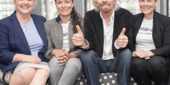 Loral Quinn and her daughter Eishel with Richard Branson and Jackie Waring