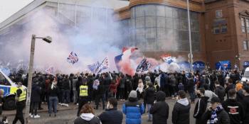 Rangers fans celebrating