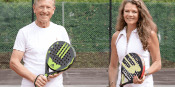 Michael-Gradon-Game4Padel-co-founder-and-CEO-and-Annabel-Croft