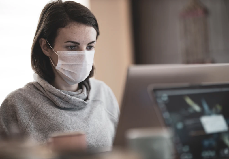 face mask office worker